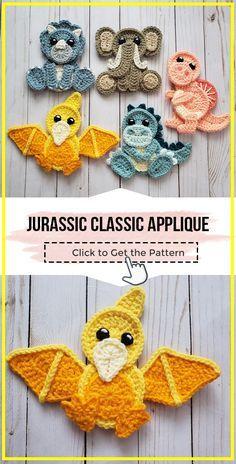 Appliques Au Crochet, Crochet Dinosaur Patterns, Crochet Applique Patterns Free, Granny Square Crochet Pattern, Crochet Motif, Crochet Flowers, Cute Crochet, Crochet Crafts, Crochet Baby
