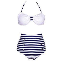 Women's+Strips+Print+White/Navy+Blue+Bikini,+Vintage+Halter+High+Rise+–+USD+$+12.99