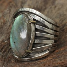 Chunky labradorite ring with sterling silver claw texture band