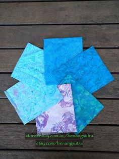 """""""Blue Ammonite"""" Batik Fabric Fat Quarter Pack (6 pieces) - 50cm x 56cm or 20"""" x 22"""" - $24.50"""
