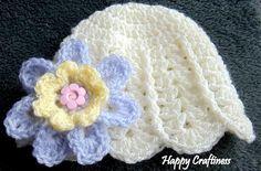 BABY FLOWER HATShell Pattern 3 flowers Newborn preemie 0-3 months Baby Girl Handmade Crochet, Baby Gift New Baby Girl Hand Crochet by HappyCraftiness on Etsy