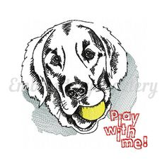 Labrador machine embroidery design. Dog. Animal. Ball. Play with me. 2 sizes. Instant download http://etsy.me/2nLL1wm #supplies #embroidery #labrador #machineembroidery #design #dog #animal #pet #puppy