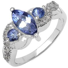 ($89.99) 0.99 Carat Genuine Tanzanite and 0.11 ct. t.w. Genuine Diamond Accents Sterling Silver Ring   From JewelzDirect
