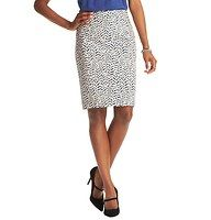 "Curvy Carved Leaf Print Pencil Skirt in Doubleweave Cotton - Especially designed to flatter curves, we married the ladylike charm of a curve-skimming pencil (in our perfectly polished doubleweave stretch cotton) with a totally chic leaf print. Back zip. Lined. 22 1/2"" long."