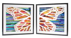 pair of butterfly wing shadowboxes- made from recycled magazines. $298.00, via Etsy.