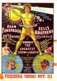 Vintage Adam Forepaugh and Sells Brothers Circus Poster - 1901 - this is in the South only 36 years after the Civil War