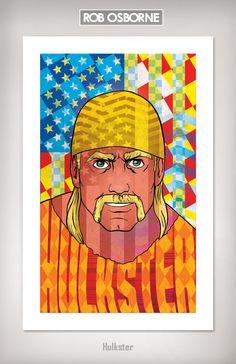 HULKSTER Hulk Hogan Wrestling Art Print 11x17 by Rob Osborne. $20.00, via Etsy.