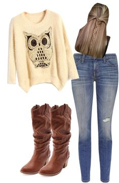 """owl."" by leann-hadley ❤ liked on Polyvore"