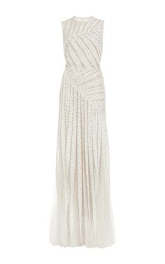 Bead Embroidery and Tulle Asymmetric Gown - Elie Saab Resort 2016 - Preorder now on Moda Operandi