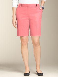 "Talbots - 9"" Twill Shorts   Pink Flamingo"