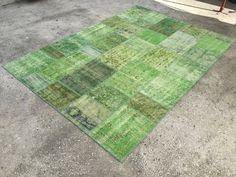 Green Vintage rug, Distressed rug, Anatolian rug, Over dyed rug, Patchwork rug, 7x10 ft, Carpet , rug, Area Rug, 216x305 cm 12735
