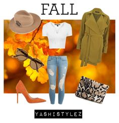 """""""Casual Fall Outfit"""" by yashistylez on Polyvore featuring VILA, Gianvito Rossi, Topshop, Frame Denim, Ray-Ban and J.Crew"""