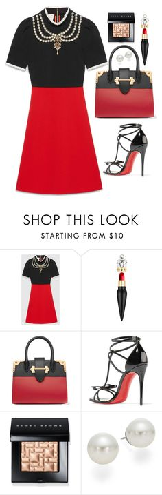 """""""Untitled #1712"""" by mihai-theodora ❤ liked on Polyvore featuring Gucci, Christian Louboutin, Prada, Bobbi Brown Cosmetics and AK Anne Klein"""