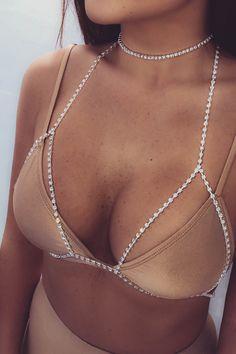 1cef57ee0c Dinah Diamante Bralette Chain - Silver Diamante Choker