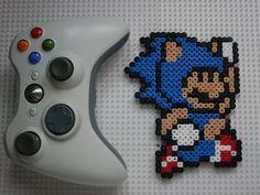 Mix - Mario Sonic - Perler Bead Sprite - Pixel Art by BigBossFF.deviantart.com on @deviantART