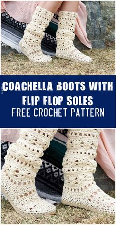 Easy Crochet Coachella Boots with Flip Flop Soles - 110+ Free Crochet Patterns for Summer and Spring - DIY & Crafts