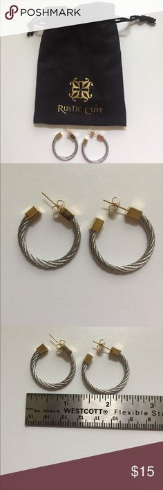 Rustic Cuff hoop earrings Silver with gold accents hoop earrings Rustic Cuff Jewelry Earrings