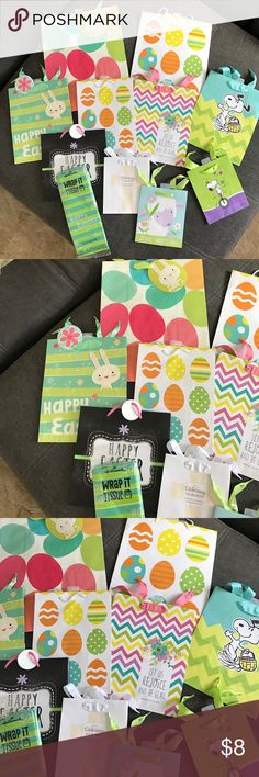 Sophisticated spiral design top 1x lot of 10 easter gift bags and tissue paper negle Gallery