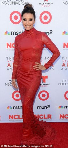 Scarlet sisters: Devious Maids executive producer Eva Longoria and her pregnant star Dania Ramirez both opted for crimson gowns at the ALMA Awards in Pasadena Friday