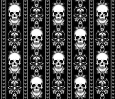 Baroque Skull Stripe Gothic Black custom wallpaper by ophelia for sale on Spoonflower Gothic Wallpaper, Skull Wallpaper, Pattern Wallpaper, Wallpaper Backgrounds, Wallpapers, Black Wallpaper, Baroque, Skull Fabric, Goth Home