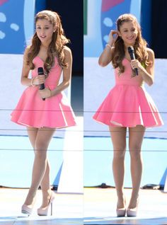 Ariana grande wearing a pretty little pink dress and gorgeous heels😺 Ariana Grande Outfits, Photos Ariana Grande, Ariana Grande Legs, Adriana Grande, Cute Dresses, Cute Outfits, Pink Dresses, Purple Dress, Simple Dresses
