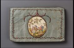 Late 18th century, Europe - Pocketbook - Silk plainweave appliquéd and embroidered with silk, metallic threads, metal purl, metal spangles