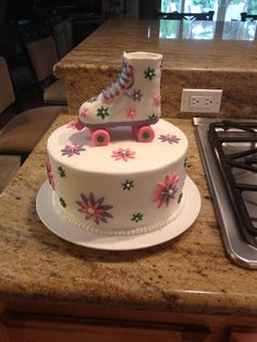 Girls birthday roller skate cake