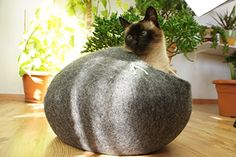 Cat House Bed Cave Handmade Ecological Sheep Wool Color Dark Grey Size L Large ** You can find out more details at the link of the image.
