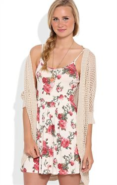 Deb Shops Floral Rose Slip Dress with Spaghetti Straps