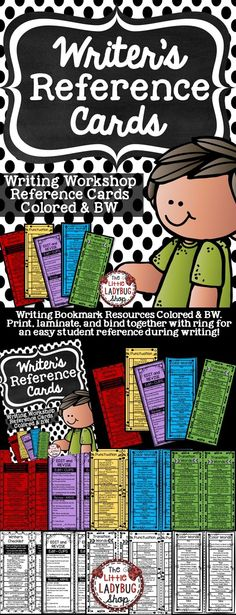Writing | Writing Workshop | Writing Reference Cards | Writing Writing Bookmarks are perfect to use as a reference resource during Writer's Workshop. ★★Teacher Tips★★ ★Writing Bookmark Resources Colored & BW. ★Print, laminate, and bind together with ring for an easy student reference during writing!