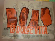 """Fellini's """"La Dolce Vita"""", UK Quad for 80s rerelease of the film.  Director: Federico Fellini. Stars: Marcello Mastroianni, Anita Ekberg, Anouk Aimée"""
