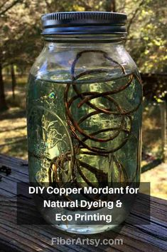 How to make a Copper Mordant or Copper Modifier for Natural Dyeing and Eco Printing Easy DIY Iron Mordant Recipe for Natural Dyeing and Eco Printing. Learn how to make a liquid Iron Mordant or Iron Modifier for Plant Dyeing and Eco Dyeing. Shibori, How To Dye Fabric, Fabric Art, Dyeing Fabric, Fabric Painting, Fabric Crafts, Dyeing Yarn, Paint Fabric, Textile Dyeing