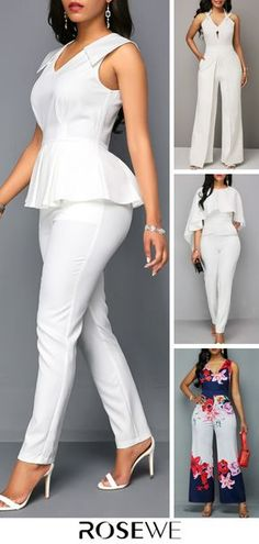 White V Neck Sleeveless Peplum Women Summer Jumpsuit Jumpsuits are in trend this season. African Wear, African Attire, African Fashion Dresses, African Dress, Classy Outfits, Casual Outfits, Cute Outfits, Fashion Wear, Fashion Outfits