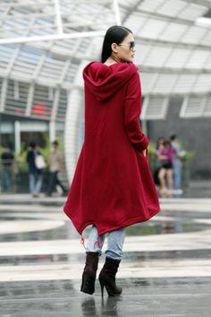 ON SALE SIZE L Wine Red Hooded Sweatshirt Cotton by Sophiaclothing, $59.99