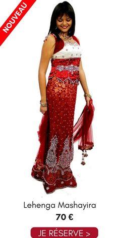 fe8b866ad2d22 Location Lehenga Choli Soirée Mashayira Rouge Blanc 38 Pas Cher 70€ Narkis  Fashion