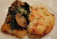 Gourmet Girl Cooks: Pan Seared Cod & Cheesy Cauliflower Puff