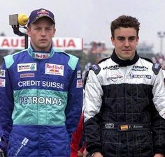 Kimi Raikkonen and Fernando Alonso in 2001.