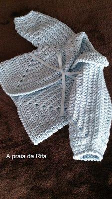 A praia da Rita: Casaquinho para bebé menino (hexágono em crochet) / Baby boy jacket (crochet hexagon)