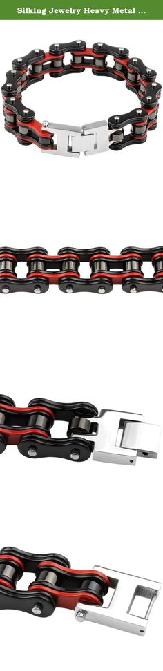 Silking Jewelry Heavy Metal Stainless Steel Men's Motorcycle Bike Chain Bracelet Black Red Bangle 19mm 8.85inch. Fashion Bike Chain Style Heavy Stainless Steeel Bracelet 100% Brand New with High Quality Applicable People: Men Metal:Stainless steel Color: Black & Red Weight: 120g Length:225mm(8.85inch) Width:19mm Package included: 1PC Bracelet .