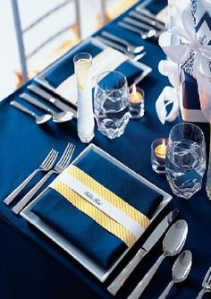 Midnight blue, butter yellow & gold table setting. Presents tied with ribbons. Place settings. Reception table. Wedding inspiration board. Bridal Buds