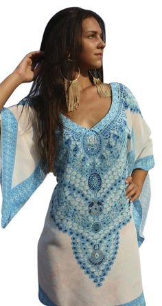 0bf57efb672 Victoria Luxury Silk Blue   White Saphir. and Dazzling Sapphire Necklace.  Crystal Embellishment. Tunic Size OS (one size)