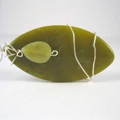 Wire Wrapped Jade Pendant, Surfboard Shaped Jade, Sterling Silver Wire Wrapped Pendant -- Surfing Safari --