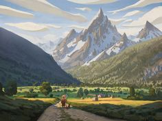 The real-life mountain town of Prapic in the French Alps serves as inspiration for the idyllic piece, Mountain Above the Valley. Artist Quentin Regnes drew on fond memories he had of the area – which he often visited as a child – and says the scene is Landscape Concept, Fantasy Landscape, Landscape Art, Berg Illustration, Mountain Illustration, Illustrations, Environment Concept Art, Environment Design, Fantasy Kunst