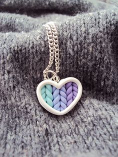 Ombre teal purple knitted heart necklace