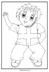 Boy in a St. George T-shirt Free Printable Colouring Picture