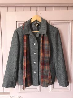 82fcf8c1e Immaculate Leon Cutler wool suit, classic 80s does 40s, vintage wool suit,  plaid skirt with grey wool jacket and matching scarf