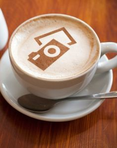 Camera art in coffee