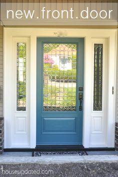 Front door painted blue / bluish-turquoise (Behr's Solitude)