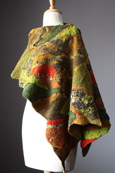 Nuno Felted scarf Wool Silk Green Mustard Red rust Lichens collage Abstract Contemporary Original Modern Art   by VitalTemptation , Etsy