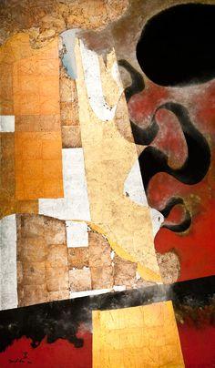 Kenji Yoshida (Japan), La Vie, 1990, (KY1068). Metals and oil on canvas, 196 x 114 cm